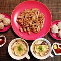 中華の晩御飯☆肉団子の簡単焼売風おいしいです♪☆♪☆♪