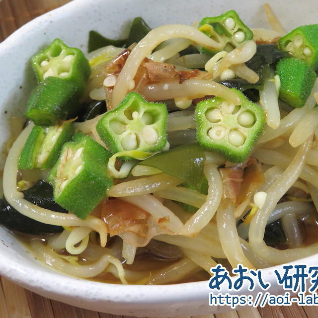 料理日記 185 / もやしとオクラの酢醤油和え (ノンオイル)