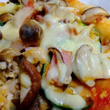 きのこピザを作ったよ