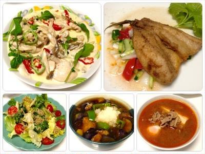 鶏とキノコのクリーム煮、シラスサラダ、鯵フライ、ナスの揚げ出し 7/30まとめ