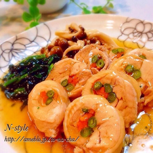 レンジ調理♡鶏肉の八幡巻き♡