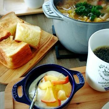ココットde Gohanでミネストローネ風スープの朝ごはん♪
