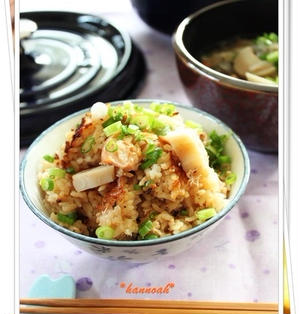 鮭と蓮根の醤油麹 炊き込みご飯