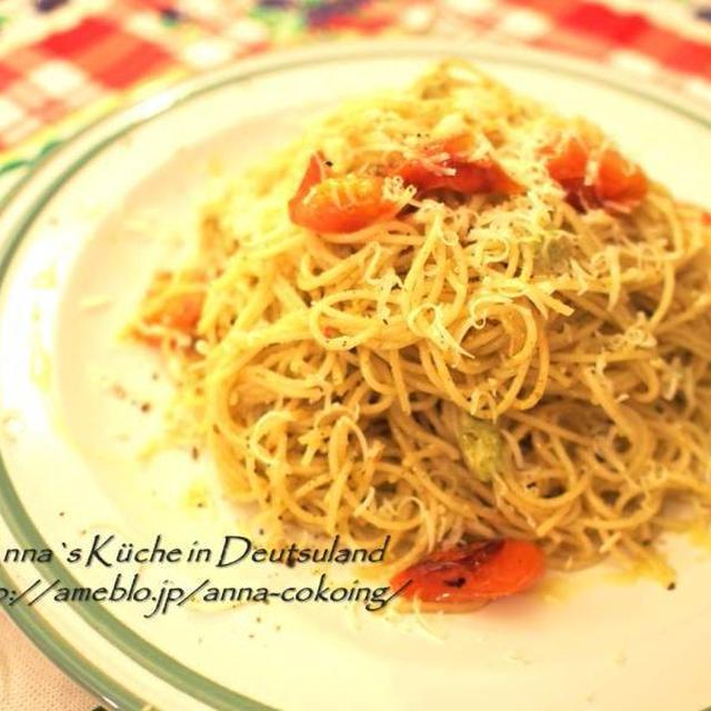 【主食・パスタ】定番の美味しさ♡ジャノベーゼとトマトのパスタ