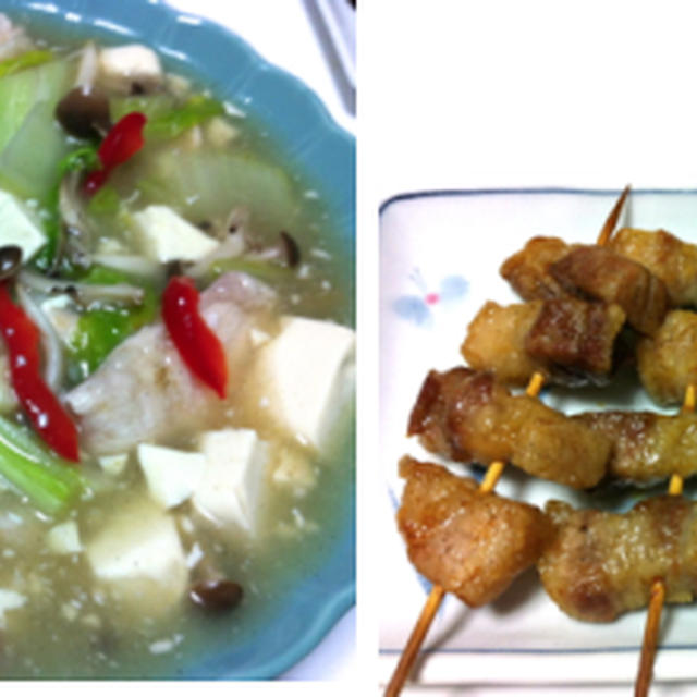 鶏むね肉と豆腐煮込み、豚バラ串焼き、サワラの塩麹照り焼き 他