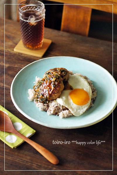 エノキとニラの和風ソースでハンバーグ丼