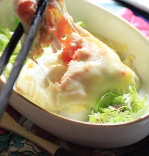 豆腐ポテサラ明太子の5分で出来るとろ~りチーズ焼き♪