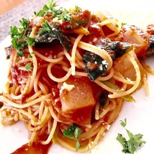 ほうれん草とチーズのトマトソーススパゲッティ