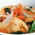 小松菜とチキンのトマト煮