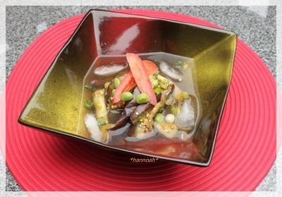 茄子と枝豆のナムル☆冷製スープ仕立て