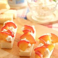 カッテージチーズとリンゴのキャラメリゼとのフィンガーフード(オープンサンド)