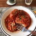 【包丁不要!】レンジで!めっちゃ美味しいハンバーグのトマト煮込み(イタリアンハンバーグ)
