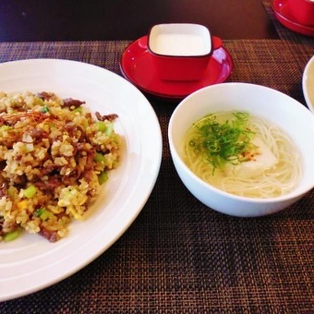 スチーム玄米deエスニック炒飯とチキンフォーは素麺だけどね