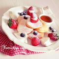 ♡メレンゲ入り生地deふわっふわ♪苺&ブルーベリーパンケーキの作り方♡