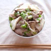 豚バラとエリンギのネギ塩丼