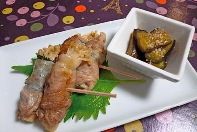 フライパンひとつで、エノキの豚肉巻きと茄子煮