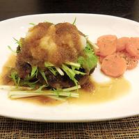 水菜とおろしの和風ハンバーグ。