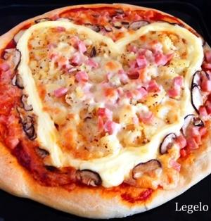 バレンタイン料理♪ マヨハートピザ☆ボウルでこねて冷蔵庫♪ 簡単☆ボリューム