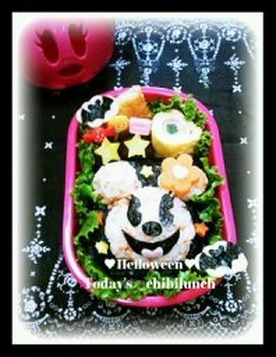 ハロウィンキャラ弁;かぼちゃミニー