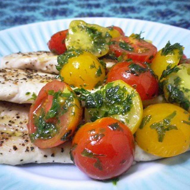 鶏ささみとミニトマトのソテー