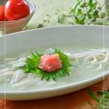 グリーン豆乳スープでうどん☆タラコのせ