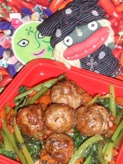小松菜と豚こまの黒酢豚風&茄子のキムマヨサラダ(お家カフェ)