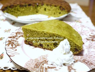 <簡単☆お茶と黒豆のケーキ(炊飯器とホットケーキミックスで)>