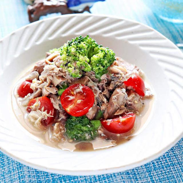 サバ缶とブロッコリーのごまポンサラダ【レンジでかんたん低糖質おかず】|レシピ・作り方