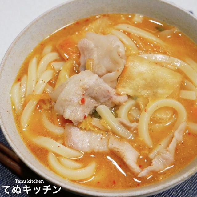 【レンジでチンするだけ!】寒くなってきたら温かい『キムチ鍋風うどん』を簡単に食べたい♪