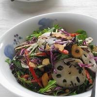 ごま油ジュッ! 蓮根と水菜、ひじきの彩りサラダ