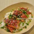 カツオの黒酢生姜レアステーキ丼