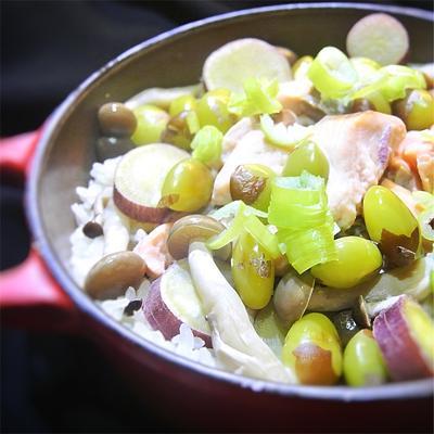 鮭と銀杏、サツマイモの炊き込みご飯