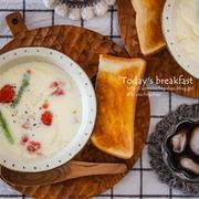 鍋に入れて煮込むだけ♡トマトとアスパラのミルクスープ♪と肉マネーで支払いは47円♡