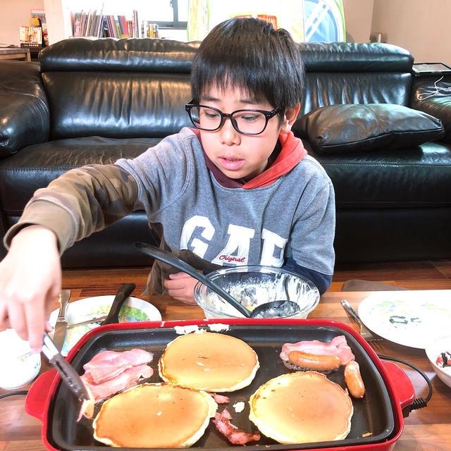 子供達に朝ごはんを作らせてみました〜!!