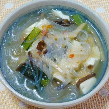 チャプチェでスープ