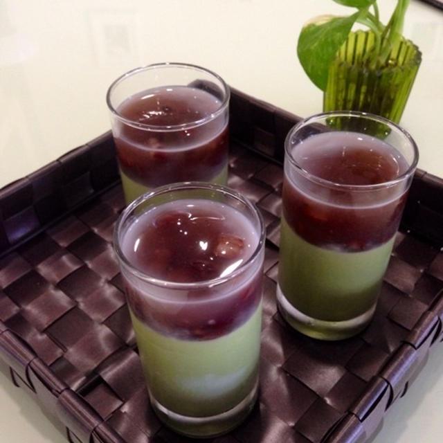 抹茶と小豆の二層プリン