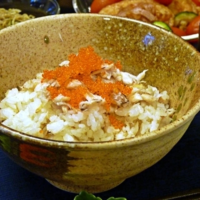 残り物利用で...蟹飯と、鶏とズッキーニ&トマトの南蛮漬け