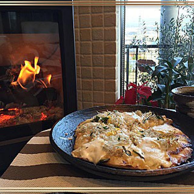 マスカルポーネ・柚子でシラスピザはあっさり・・美味しい~♪