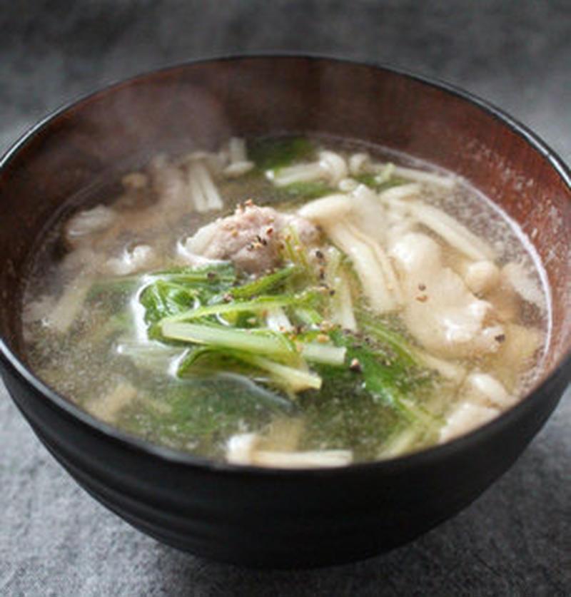 お鍋で余った水菜を活用♪あったか「中華スープ」レシピ