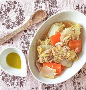 【レシピ】オリーブオイル香る♪白菜とツナのうま煮【時短・便秘改善】