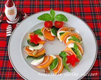クリスマスに!柿のカプレーゼ☆リースサラダ