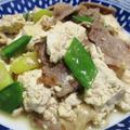 豚こまとくずし豆腐の麺つゆ炒め<簡単、時短、節約>