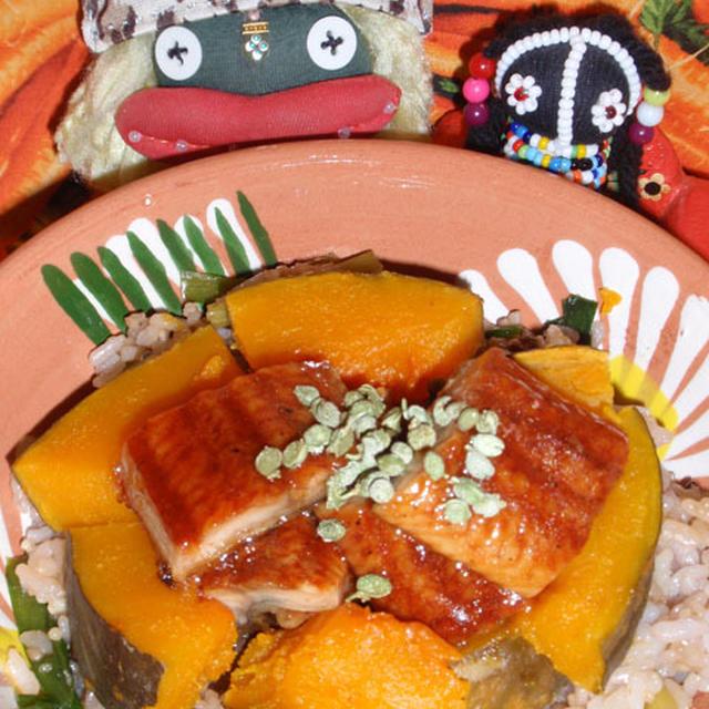 鰻と南瓜の炊き込みご飯 &ツナとキュウリの和風サラダ(お家カフェ)
