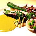 【雛祭り】鰆のポワレと蛤の白ワイン蒸し 季節の野菜とグリーンピースのソースと共に