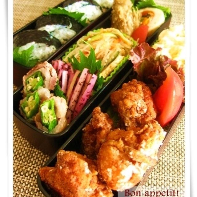 お弁当の腐敗対策あれこれと、たんぱく質で夏バテ防止☆明太子風味の鶏の唐揚げ、ツナと大葉の巻き寿司