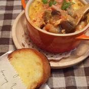 半熟タマゴと煮込み野菜のグラタンスープ