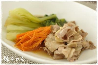 ふんわり優しい味。豚肉と青梗菜の薄味煮♪