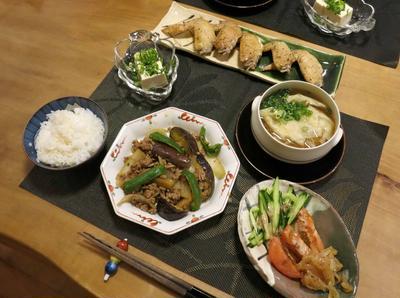 茄子とひき肉の味噌炒めなど中華っぽい晩ご飯 と アロニア・チョコベリーの実♪