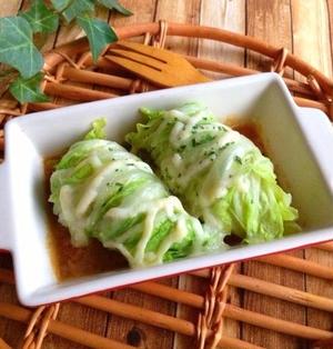 レンジで簡単*チーズとろ〜り白菜のウインナー巻き