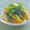 レンジで簡単&涼味おかず!冷んやりでとろとろ〜白なすの麺つゆ煮びたしと素麺。